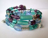 Tropical Colors Beaded Memory Wire Wrap Bracelet Beaded Bracelet Purple Blue Silver Spacer USA Made Maine Handmade Jewelry By Garnishments