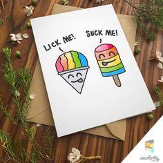 CHEEKY PUN greeting card - gay couple love anniversary funny cute boyfriends…