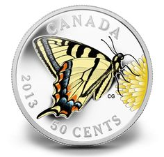 Fine Silver Coin - Butterflies of Canada: Canadian Tiger Swallowtail - Mintage: 10000 Tom Thomson, Canadian Coins, Canadian History, One Coin, Gold And Silver Coins, Mint Coins, Black Tigers, World Coins, Rare Coins