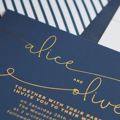 Did you know we can change the colours on our designs to suit your theme. A&O opted for our (normally) monochrome Kate design in navy blue and gold foil, and we think it looks gorg! Suits You, Gold Foil, Wedding Stationery, Did You Know, Monochrome, Things To Think About, Navy Blue, Colours, Change