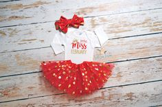 Little Miss February Girl Outfit w Gold Dot Tutu and Red Gold Dot Bow | Girl First Birthday | Valentine Onesie | First Valentine | 168 by BelleLaneDesigns on Etsy