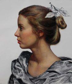 Nude Portrait, Oil Portrait, Portrait Paintings, Oil Paintings, Cesar Santos, Female Profile, Profile Woman, Figure Painting, Basic Painting