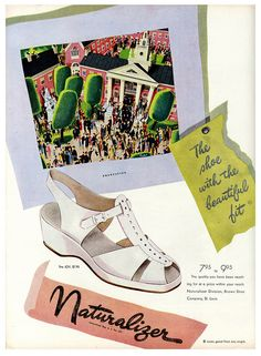 Naturalizer - the shoe with the beautiful fit! #vintage #1940s #shoes #ads