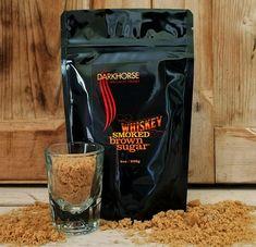 Darkhorse | WHISKY Smoked Brown Sugar 8 Oz. Package | Ingredients: whisky smoked sugar, invert sugar and cane molasses | By Darkhorse Specialty Foods, from Petaluma, CA | #WhatSugarBlog #DarkHorseSugar #vegan #glutenfree Specialty Foods, Edible Plants, Fun Cocktails, Unique Recipes, Whisky, Brown Sugar, Pouch, Smoke, Vegan