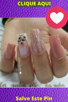 Hot Nail Designs, Simple Nail Designs, Square Gel Nails, Nails Design With Rhinestones, Hot Nails, Flower Nails, How To Make Hair, Make Up, Make It Yourself