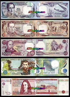 Colombia banknotes, Colombia paper money catalog and Colombian currency history