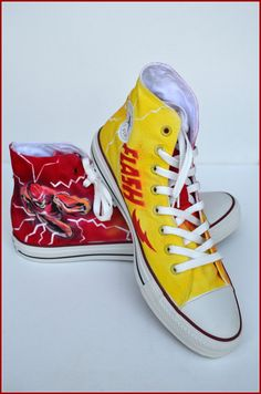Hand Painted Mens Shoes Painted Shoes The Flash by PricklyPaw