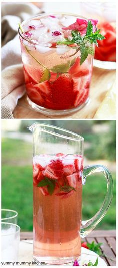 Rosé sangria - this skinny sangria has no added sugar. Rosé sangria recipe with strawberries, lemon and mint.