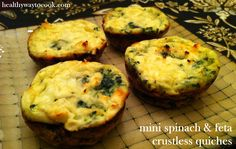 A lightened up, portion-controlled crustless quiche recipe with spinach, onions and feta cheese.