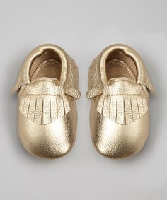 Mothers Love Light Gold Leather Moccasin Booties