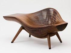 sculptural south korean contemporary furniture design by bae se hwa in bent walnut