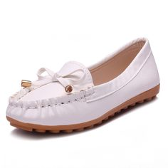 PU Leather Bowknot Loafers Casual Flat Shoes Nurse Shoes