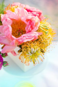 coral peony and protea detail www.say-yep.com/issue2/