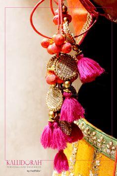 #CandidShots #BridalDress #Kallidorah #PersonalisedEnsembles #Asopalav #Ahmedabad Bead Embroidery Patterns, Beaded Embroidery, Indian Accessories, Wedding Accessories, Stylish Dress Designs, Thread Jewellery, Craft Bags, Indian Designer Wear, Tassels
