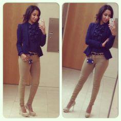 Casual Work outfit - Peplum Blazer, Ruffled top, nude heels, beige skinny jeans #ootd #wiwt