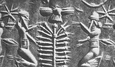 sello-de-rodillo-sumerio. En las representaciones sumerias se lo suele encontrar encabezando una escena conapkallu junto al árbol de la vida.