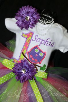 Girls Birthday Owl Tutu Outfit in Purple, Lime Green, & Hot pink