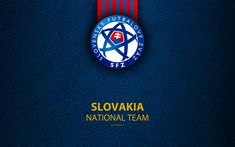 Download wallpapers Slovakia national football team, 4k, leather texture, coat of arms, emblem, logo, football, Slovakia