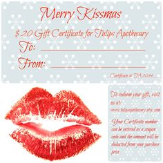 Holiday Gift Certificate, All natural Beauty Products, Lip Balm, Sugar Lip Scrub, Body Lotion, Sea Salt Body Scrub, Lip Gloss, Made to Order by TulipsApothecary on Etsy https://www.etsy.com/listing/215916510/holiday-gift-certificate-all-natural
