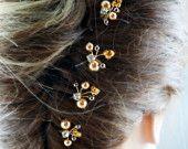 Wedding hair clips, Bridal Hair Accessories, Swarovski dark brown gold pearls, Gold Rhinestone, Bridesmaid Hair do, Fall wedding, Topaz