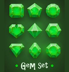 Set of realistic green gems of various shapes. Elements for mobile games or decoration. Free Vector Images, Vector Free, Stone Game, Rock Sign, Sketch Icon, Game Gem, Game Ui Design, Bright Background, Game Icon