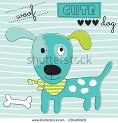cute woof dog vector illustration - stock vector