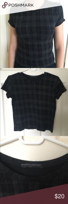 Brandy Melville plaid wool short sleeve BM no longer sold in stores short sleeve with black and grey plaid pattern and thick wool-like feel/only worn a few times, and has been kept in great condition with no flaws! Brandy Melville Tops Tees - Short Sleeve