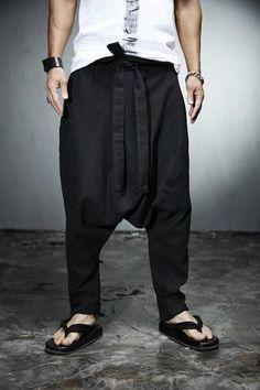 aladin pants/hippie pants/drop crotch pants/mens trousers/Harem Pants /skirt pants / yoga pants/Men's ankle string linen baggy pants