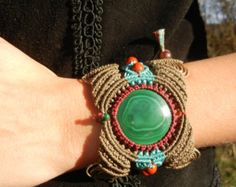 Green Machine Bracelet Cuff and Armband with Malachite in Micro Macrame Woven Stitch