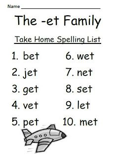 The -et Family Spelling Lists & Tests by Fern Smith's Classroom Ideas!