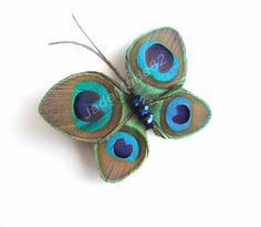 Butterfly Peacock Hair Clip Accessory Peacock by JadeMade82