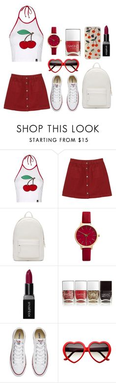"""""""Cherry🍒🍒"""" by savage9506 ❤ liked on Polyvore featuring Topshop, Monki, PB 0110, Smashbox, Nails Inc. and Converse"""