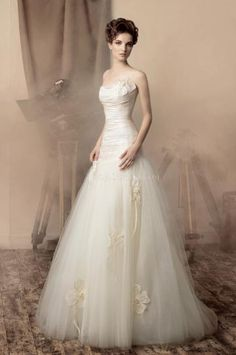 A-Linie bodenlang Sommer Brautkleider 2014