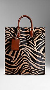 Burberry - Striped Animal Print Tote Bag