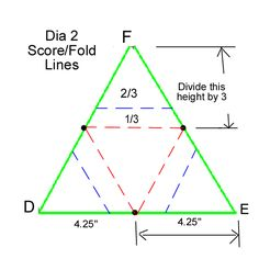 Measurements for star card with nativity. Use proportions, any equilateral triangle should work.