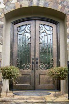 Get inspired with our handcrafted iron doors. Enhance any home's architecture appeal with out traditional, transitional, old world to contemporary iron doors. Iron Front Door, Double Front Doors, Front Door Entrance, Door Entryway, Front Entrances, Front Entry, Entry Doors, Double Doors Entryway, Beautiful Front Doors