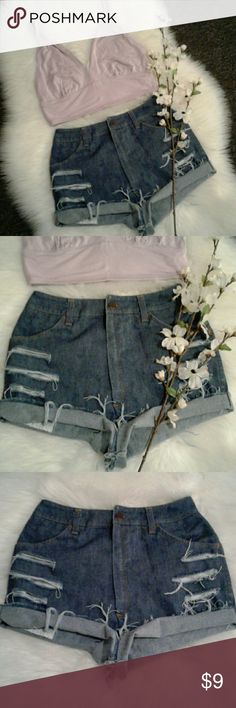 """Vtg High Waist Distressed Jean Shorts Excellent rebuild condition  Shorts have been cut, Frayed & Distressed for style 100% cotton (tag faded off) 4 pockets-zip up fly-button closure Waist: 12.5"""" (relax laying flat) 25"""" all around Length: 11"""" (folded) 12.5"""" (frayed) Front rise: 13"""" Wear 2 ways FOLDED or FRAYED for 2 Different Styles Jeans That Fit Shorts Jean Shorts"""