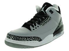 553e61e9d153 Nike Air Jordan 3 Retro 136064-004 Wolf Grey Silver Black White Men s Shoes  (size 7)