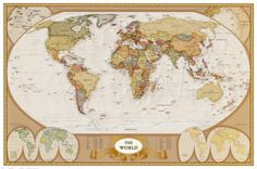 Zabytkowa mapa świata Plakaty w AllPosters.pl