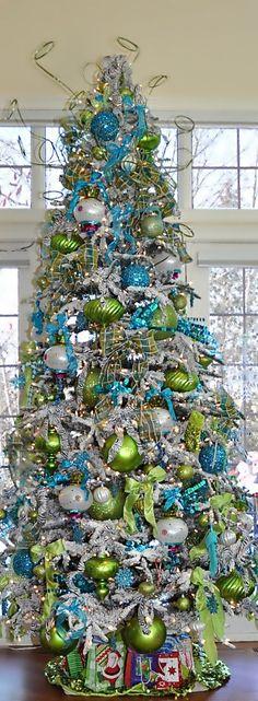 Aqua and Lime Green Christmas Tree Decorating Ideas