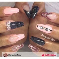 Coffin/Ballerina Nails by MargaritasNailz via Nail Art Gallery #nailartgallery #nailart #nails #gel #black #geldesign #glittergel #nailfashion #gelnails #naildesign #glitterfade #blingnails