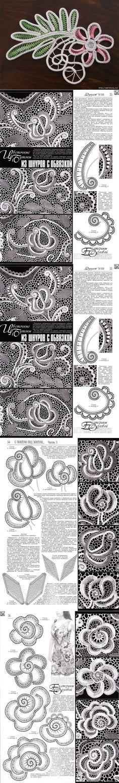 Boccioli di fiori e foglie di cavo - una descrizione e schema di doppiette * * | румынское ирланд.брюг.кружева | Постила