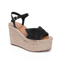Valentino Tropical Bow Suede Espadrille Wedge Platform Sandals ($595) ❤ liked on Polyvore featuring shoes, sandals, women's shoes - valentino, platform espadrille sandals, bow sandals, platform espadrilles, wedge heel sandals and espadrille sandals