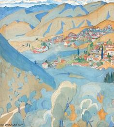 Spyros Papaloukas - View Of Plagia Village, Lesbos Main Theme, Oil Painters, Creative Art, New Art, Cotton Canvas, Giclee Print, Greece, Canvas Prints, Landscape
