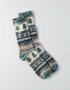 AEO Tree Crew Socks, Green from American Eagle Outfitters. Shop more products from American Eagle Outfitters on Wanelo. Cute Socks, My Socks, Boot Socks, Winter Mode, Crazy Socks, Happy Socks, Looks Cool, Knitting Socks, Sock Shoes