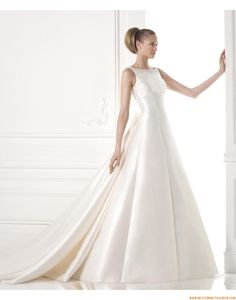 2015 A-linie Schlichte Elegante Brautkleider aus Taft mit Perlenstickerei