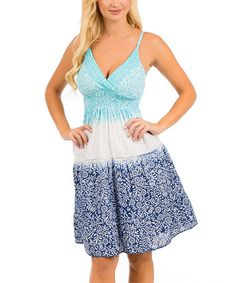 This Turquoise & White Floral Embroidered Empire-Waist Dress is perfect! #zulilyfinds