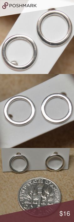 Last One! New Sterling Silver Circle Stud Earrings Brand New Sterling Silver Tiny Round Circle Earrings  Adorable and perfect. Small circle stud earrings. Post is stamped 925. Great for that bohemian hippy look.  Versatile and classy!  These are boutique branded and come packaged as a boutique item. Not Silpada.    Tags simple silver feathers heart Urban leaf filigree real earrings studs Silpada Jewelry Earrings