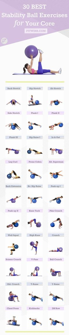 30 Best stability ball exercises to strengthen your core. #corestrength…