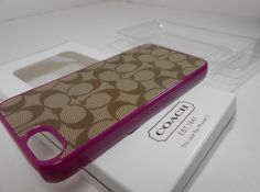 NEW coach IPHONE CASE 5 signature khaki/pink NIB F64397. Starting at $1 on Tophatter.com!